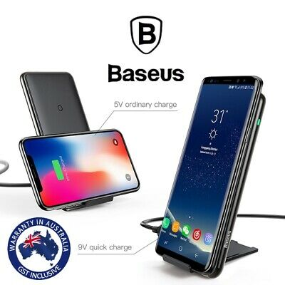 Baseus 10W Qi Wireless Fast Charger Pad Stand for iPhone X/XS Max Samsung S10