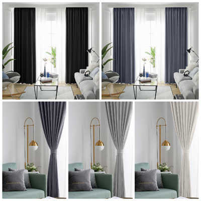2 Panels Luxury Thermal Blackout Curtains Eyelet Ring Top Heavy Thick Grommet