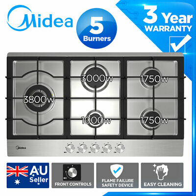 MIDEA 90cm Stainless Steel Gas Cooktop Stainless steel 5 Burners Flame Safety