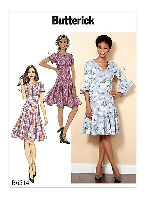 Butterick Sewing Pattern 6514 Misses 14-22 Fit & Flare Dresses Sleeve Variations