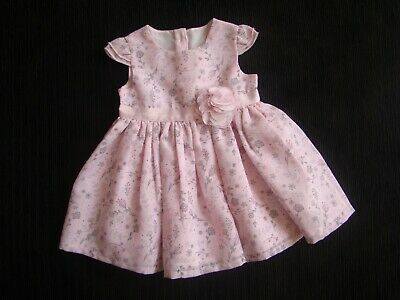 Baby clothes GIRL newborn 0-1m floral pink/silver grey polyester dress/lined
