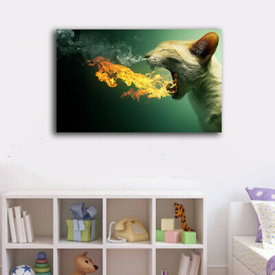 Framed Canvas Prints Stretched Abstract Leopard Fire Wall Art Home Decor