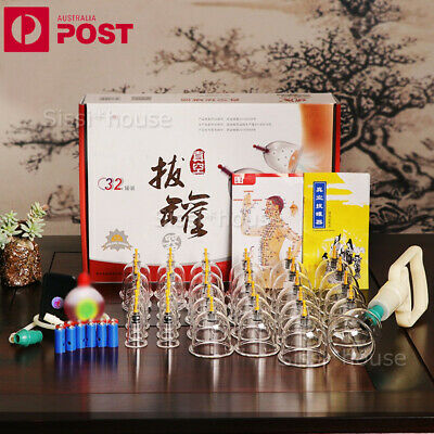 NEW 32 Cups Chinese Massage Cupping Set 32 Vacuum Suction Massager Pain Relief