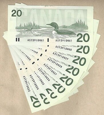 9 Sequential Serial# 1991 $20 Bank of Canada Bird Series Notes. BC-58b-i GEM UNC