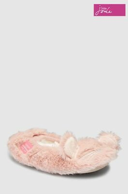 Joules Girls Slippers Pink Furry Bunny Large UK 1-2  New