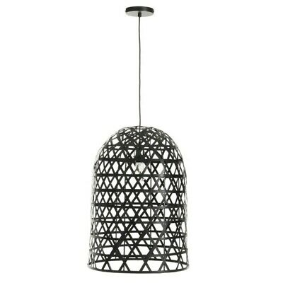 "Paris Prix - Lampe Suspension En Bambou ""briot"" 58cm Noir"