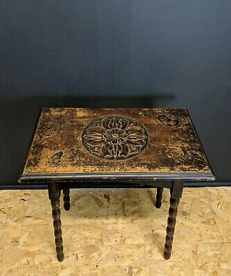 Rare 1914 Dark Oak Hand Carved Arts & Crafts Or Coffee Bobbin Legged Table 00025