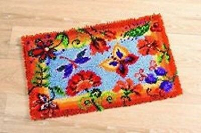 "Latch Hook Rug Kit""Bright Orange Flowers"" 88x57cm"