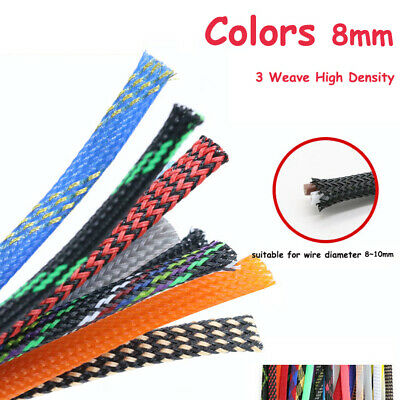 Color 8mm Expandable Braided Sleeving Cable  Wire 3 Weave High Density Sheathing