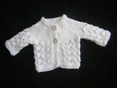 Baby clothes UNISEX GIRL premature/tiny<3-4lbs/1.35-1.8kg white pattern cardigan