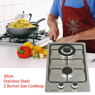 30cm Double 2 Burner Stove Cooker Stainless Steel Gas Cooktop Kitchen Stove AU !