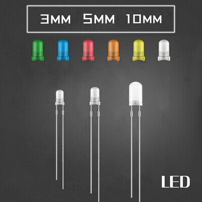 100 x 10mm Red Yellow Blue Green White Diffused Bright 5K MCD LED Leds L D6T7 1X