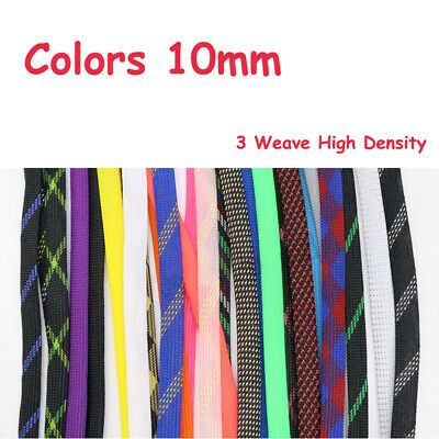 Color 10mm Expandable Braided Sleeving Cable Wire 3 Weave High Density Sheathing