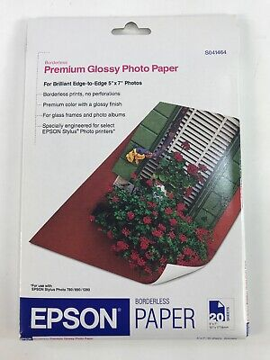 "Epson Smooth Premium High Glossy Photo Paper 5 x 7"" 20 Sheets 10.4 mil S041464"