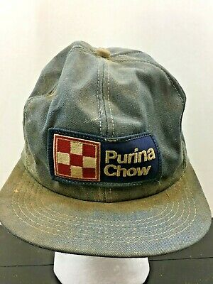 2d9a406be2459 Vintage PURINA CHOW Hat~Feed~Snap Back~Large Patch~Denim~Trucker