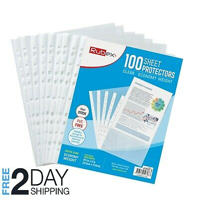 100 Sheet Protectors, Holds 8.5 x 11 inch Sheets