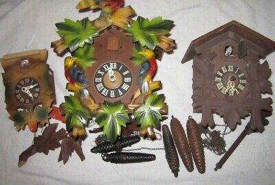 Three Vintage Cuckoo Clocks – Parts/Repair/Restoration