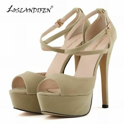 d1dd706c5cf10 LOSLANDIFEN FASHION LADIES Pumps Velvet Platform Peep Toe High Heels ...