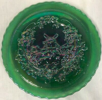 Vintage Imperial Windmill Carnival Glass Plate Green Excellent Condition