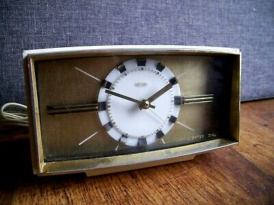 Vintage 1960's Metamec Electric Alarm Clock (Black White and Gilt Non-Ticking)