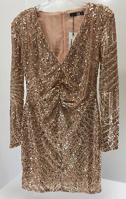 c9243dfb5e4c8 Boohoo Womens Boutique Sue Sequin Panelled Bodycon Dress Nude US6/UK10 NWT+