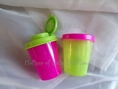 NEW TUPPERWARE SALT SHAKER & Midget SET Spice Dressing Mini Lunch Pink Green