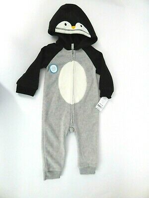 3f3cec142 Carters Baby Boys Hooded Penguin Fleece Jumpsuit Size 12 Months NWT