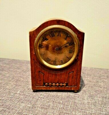 Antique Early 20th Century Hamburg American Clock Co Oak Cased Carriage Clock