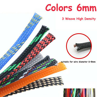 Color 6mm Expandable Braided Sleeving Cable 3 Weave High Density Wire Sheathing