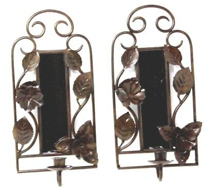 """PAIR Vintage Wrought Iron Wall Mirror Sconces Candle Holders Decor 13.5"""""""