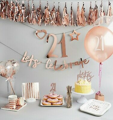 ROSE GOLD RANGE - Party Decorations Cake Toppers Balloons Bunting etc.