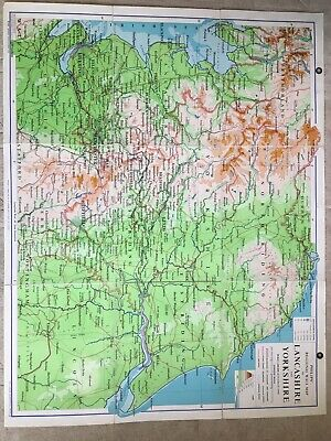 Philips Regional Wall Map Of Lancashire And Yorkshire 1963.