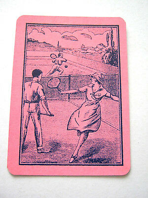 Antique Playing Card Single Swap Card Wide Mixed Pairs Playing Tennis [Pink]