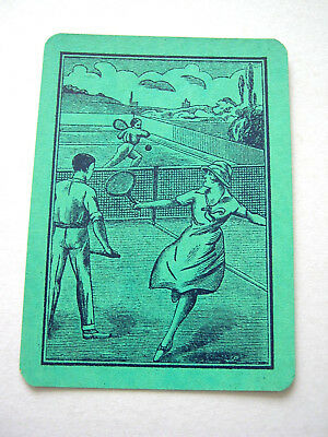 Antique Playing Card Mixed Pairs Playing Tennis [Green] 1 Single Swap Card Wide