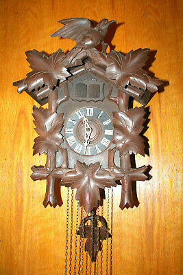 Antique German Herr Black Forest Cuckoo And Quail Clock Everything Works