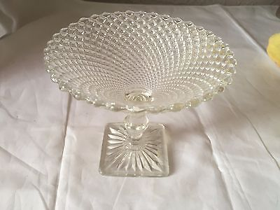 Vintage Diamond Point Clear Pedestal Indiana Glass Compote Candy Dish Small Bowl
