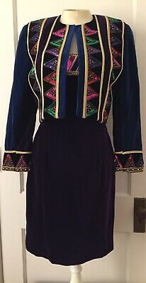 ESCADA By Margaretha Ley Strapless Dress & Jacket Velvet Sequins 80s Vintage 38