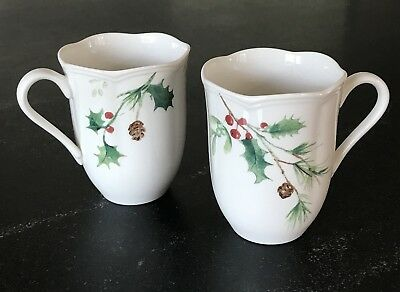Lot of 2 Lenox China Mugs Winter Meadow Christmas Holly