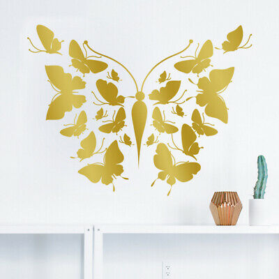 Christmas Tree Decorations Gold & Silver Black Butterfly Wall Stickers Decals G
