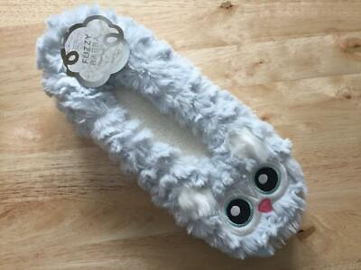Fuzzy Babba Ladies Slippers ~ BLUE OWL ~ Women's S/M  M/L ~ NWT