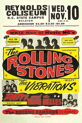 Vintage Concert POSTER  Rare   ROLLING STONES   Raleigh NC  North Carolina 16x20