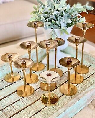 Ten Silvestri Brass Silverplate Thin Candlestick Candle Holder Wedding Vary Size