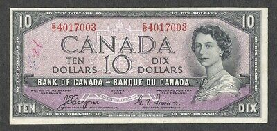 1954 DEVIL'S FACE $10.00 BC-32a VF Scarce TOWERS Canada QEII 1st DF Ten Dollars