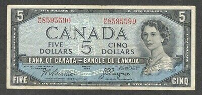 1954 DEVIL'S FACE $5.00 BC-31b F-VF * SCARCE Bank of Canada QEII DF Five Dollars