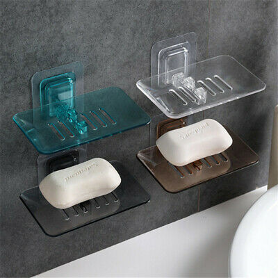 Wall Mount Suction Cup Soap Dish Holder Basket Soapbox Tray Drain Bathroom Sink