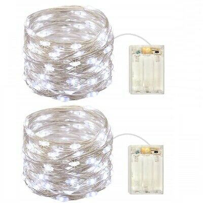2 Pack Battery Operated Mini Led Lights with Timer,Cold White Led Fairy Lights