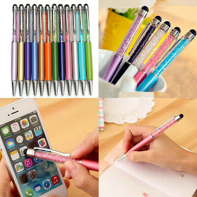 12X Lots Crystal 2 in1 Capacitive Writing Stylus Ballpoint Touch Screen Pen