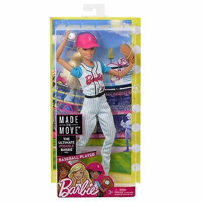 """Brand New Barbie®  Made To Move """"Baseball Player"""" Articulated 22 Joints"""