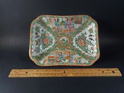 Antique Chinese Export Famille PINK Rose Canton Medallion Serving Dish 19th C