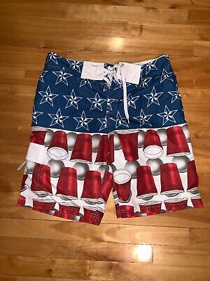 74a8045786 Men's American Flag Beer Pong Patriotic Board Shorts Swim Trunks sz 32 red  cup